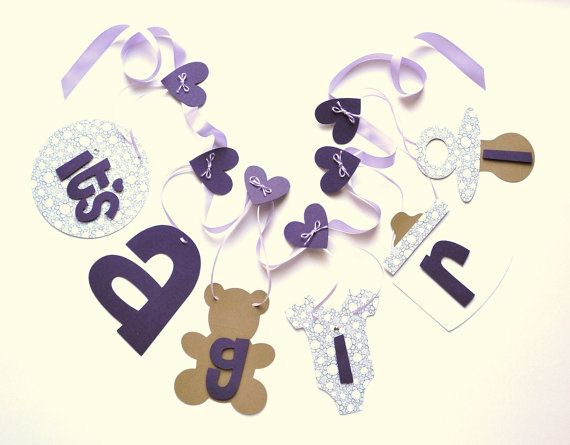 Lavender baby shower decorations it's a girl by ParkersPrints