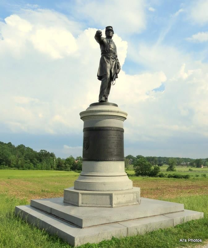 Monument dedicated to Union General James Wadsworth located on McPherson's Ridge on North Reynolds Avenue. Wadsworth was in command of the 1st Division of the Union I Corps on July 1st, 1863 and was one of the first Union infantry commanders to reach the field west of Gettysburg on that day. While surviving Gettysburg, Wadsworth would be killed within a year being mortally wounded at the Battle of the Wilderness.