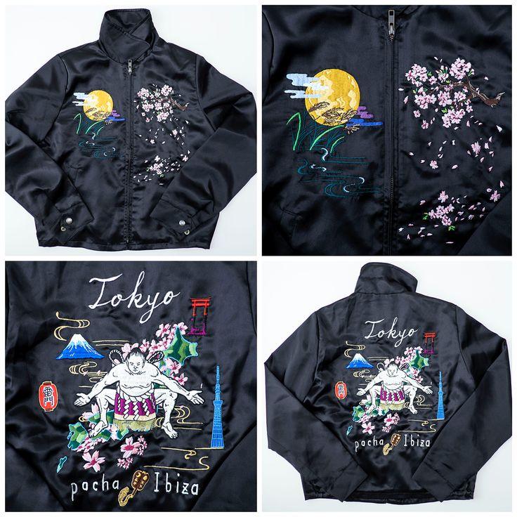 PACHA IBIZA Vintage Japanese Japan Sumo Yokozuna Wrestler Wrestling Mt Fuji Fujisan Sakura Flowers Floral Tattoo Art Embroidery Embroidered Bomber Sukajan Souvenir Jacket - Japan Lover Me Store