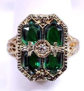 Antique Diamond Emerald 14K Ring