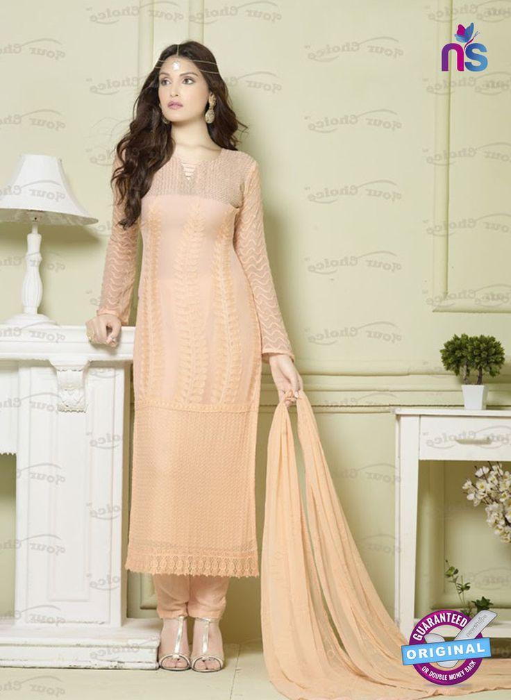SC 12924 Peach Pure Chiffon Pakistani Suit