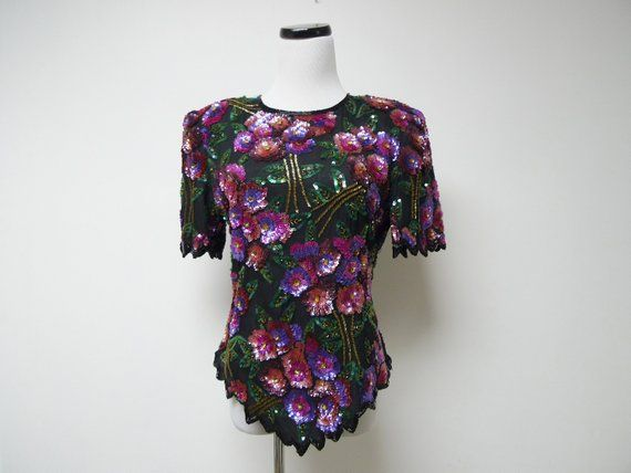 Laurence Kazar Fully Beaded Silk Top Medium Made In India Products Silk Top Silk Tops
