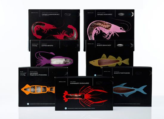 Trata on Ice: frozen seafood packaging series: by Beetroot