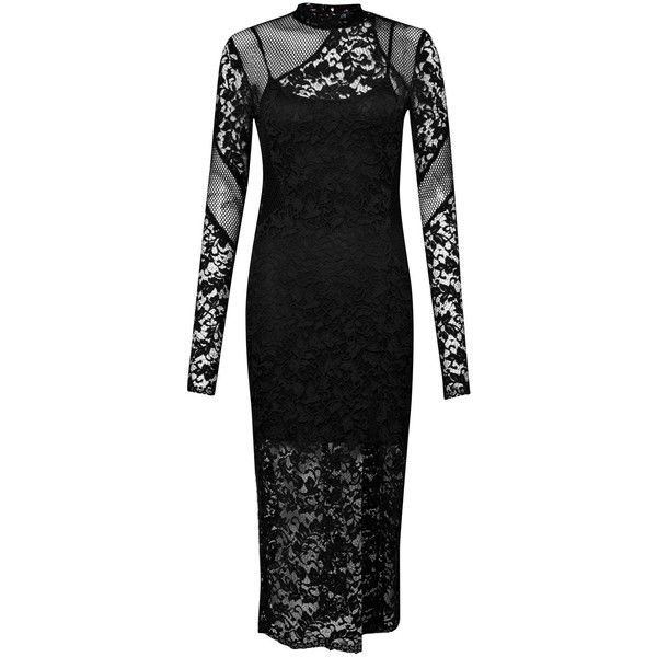 French Connection Tilly Lace Midi Dress ($165) ❤ liked on Polyvore featuring dresses, black, women, little black lace dress, bodycon dress, little black cocktail dresses, black cocktail dresses and lace up dress