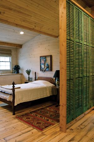 Divider constructed from old shutters.
