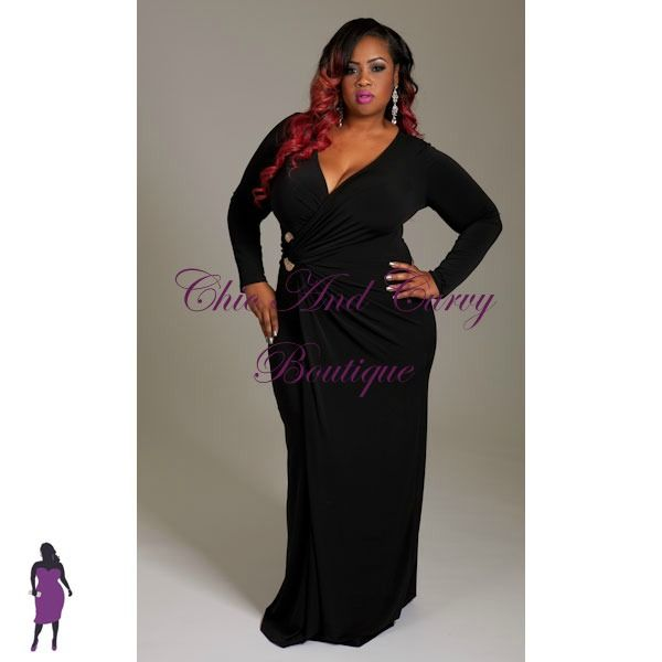 New Plus Size Long Dress with Faux Wrap Long Sleeves and Gold ...