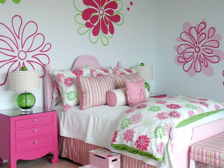 Suzie: Lucy and Company - Pink & green big girl's bedroom with pink & green flower wall decals, ...