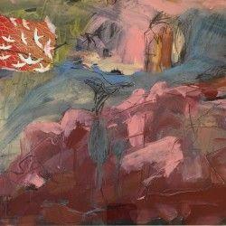 Andjana Pachkova, Australian Landscape, 2017, Mixed media and Collage on Board, Image 30x40cm, Frame 54x64cm -$800