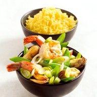 #Recept: Roerbak van garnalen en mosselen met gele rijst http://ift.tt/2gnRven #Vis---schaal--en-schelpdieren