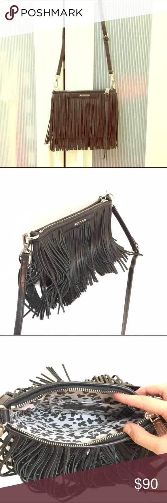 "Rebecca Minkoff Finn Fringe Clutch Crossbody New without tags or dustbag. In perfect condition - never before worn or used. The Finn Crossbody is the perfect companion for day to night outfits. This style is perfect for road trips, festivals, or drinks with friends.Tan with silver tone hardware. 9.5""W X 6""H X .25""D 24"" adjustable detachable shoulder strap drop Genuine leather 1 interior slip pocket Zipper closure. logo on back. Rebecca Minkoff Bags Crossbody Bags"