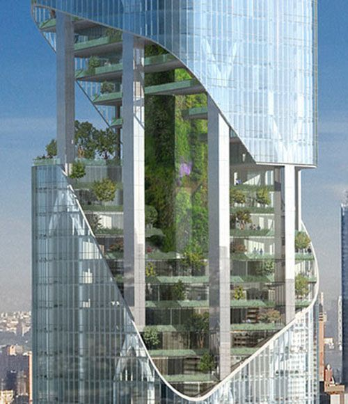 Luxury condos for the super-rich can't be green, because they will inevitably be too big to be green. The latest towering building planned to grace the new york city skyline is one Madison avenue by architect Daniel Libeskind. the 54-story condo building stands out by incorporating series of 'sky gardens' at different parts of the building. the green spaces would be enclosed in cylindrical glass tubes at the center of the tower and cut-aways in the face would open them up to the outside.