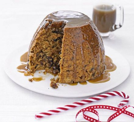 Keep everyone happy with this sticky toffee-like steamed basin pudding packed with dried fruit