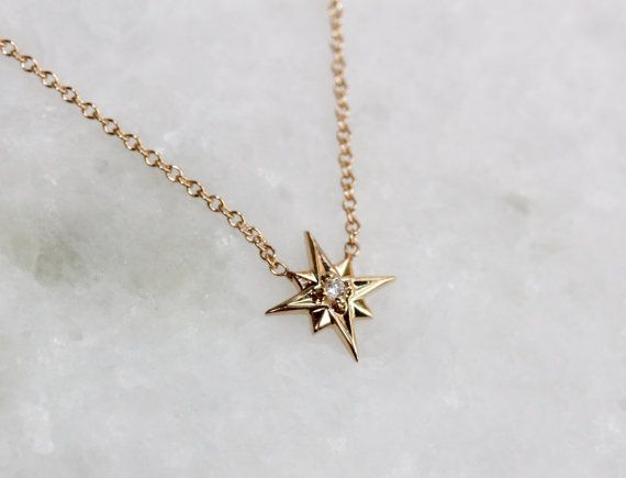 14k Gold North Star Necklace Solid Gold Necklace by LieselLove