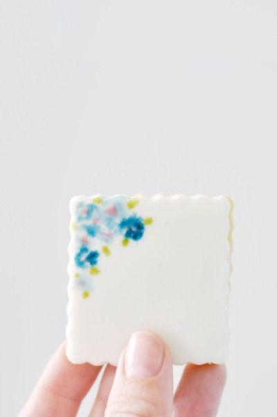 DIY watercolor cookies: http://www.stylemepretty.com/living/2015/04/29/diy-watercolor-cookies/ | Recipe: Lark & Linen - http://www.jacquelynclark.com/