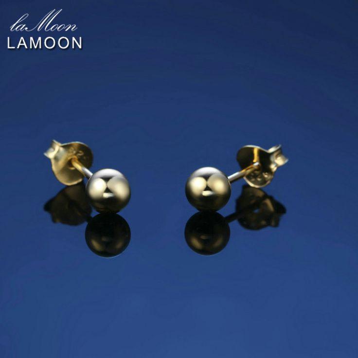 LAMOON 2017 Neue 3*3mm Perlen Ball Peas 100% 925 Sterling Silber Ohrringe Gold Farbe Feinen Jewerly/schmuck Für Frauen LMEY215