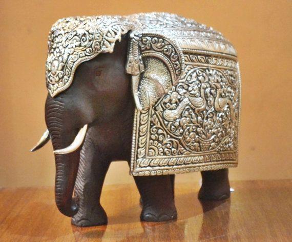 Wooden Elephant Figurine Silver Finish Metal Royal SculptureIndian Animal Decor Housewares