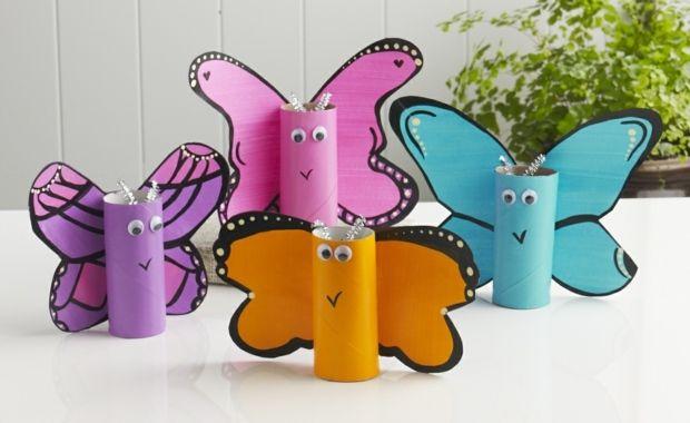 Schmetterlinge Toilettenpapier Rollen ausschneiden bemalen