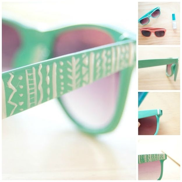 Embellish sunglasses. (As I'm on my washi tape craze you could also use that...)