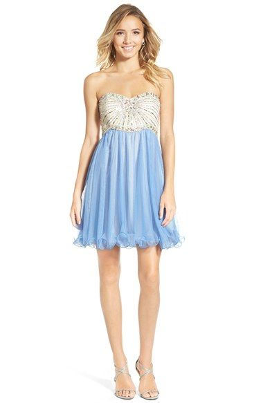 Turquoise Short Strapless Sweetheart Beaded Tulle Dress