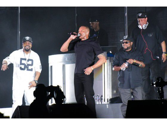 Ice Cube, Dr. Dre, MC Ren and DJ Yella, the surviving members of NWA, perform Saturday during the second weekend of the Coachella Valley Music and Arts Festival