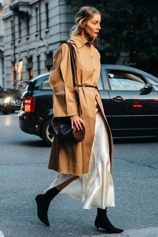 An Effortless Way To Wear A Silk Slip Dress For Winter