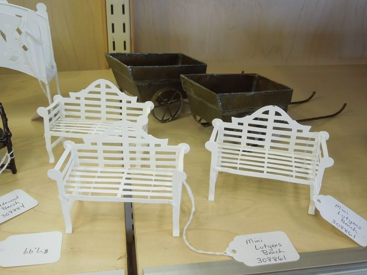 mini benches and wagons for your mini fairy garden