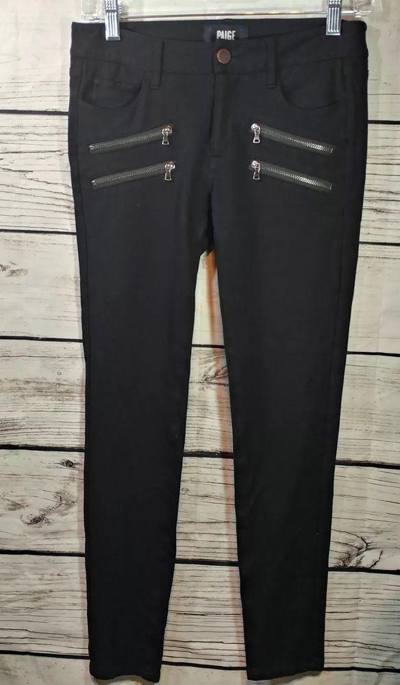 Paige Black Shadow Edgemont Skinny Jeans Zipper Detail Women's - Sz. 27 - $269 #Paige #Skinny