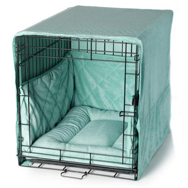 Tiffany blue dog crate bed set | FelixChien.com