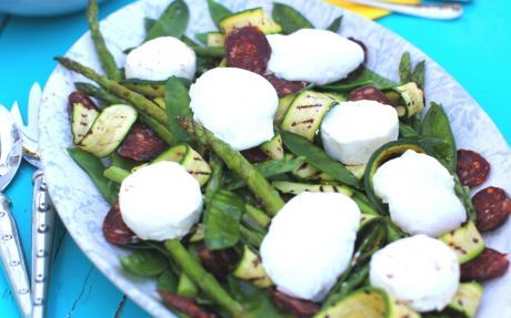 Warm Market Salad with poached eggs - roasted asparagus, snow peas, grilled zucchini, cheese, eggs. Watch a video of this dish here: http://www.cookingchanneltv.com/recipes/siba-mtongana/warm-market-salad.html