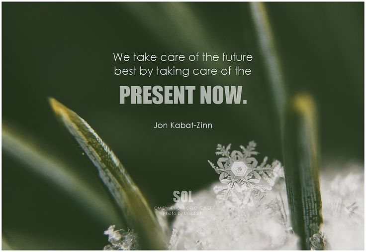 We take care of the future best by taking care of the present now. - Jon Kabat-Zinn #inthemoment #present #quote #inspirational #inspirationalquote #inspirationalwords #picturequote #picture
