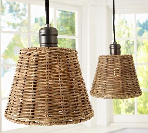 Easy to DIY/ Wicker Shade Pendant Track Lighting | Pottery Barn