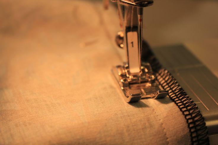 sewing along inside of trouser leg.