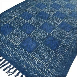 Blue Indigo Cotton Print Accent Area Dhurrie Rug Woven Weave - 3 X 5, 4 X 6 ft