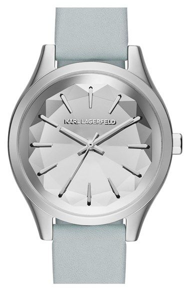 KARL LAGERFELD 'Belleville' Leather Strap Watch, 36mm available at #Nordstrom