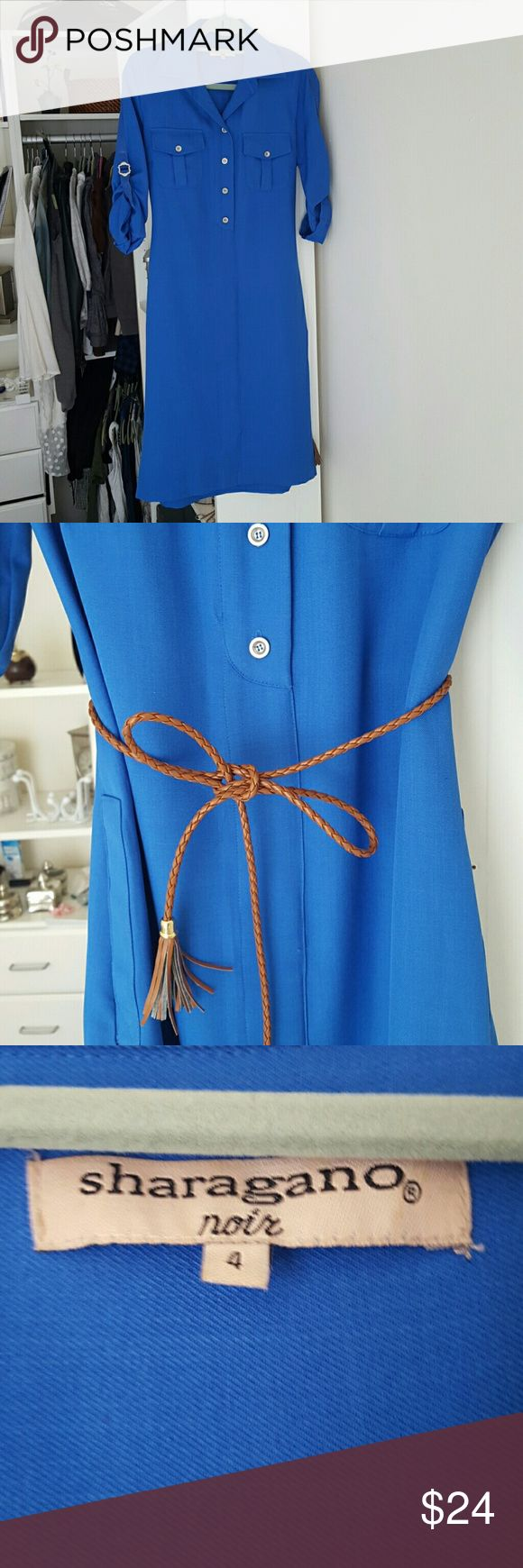 Conservative dress in electric blue Comes with a removable braided belt. Fantastic condition but doesn't fit me well and I'm trying to make space in my closet. Sharagano Noir Dresses Midi