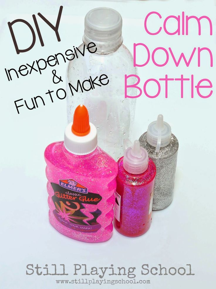 Calm Down Bottles made with glitter are soothing, inexpensive, and fun to make! Here are the steps to make a calming glitter sensory bottle...