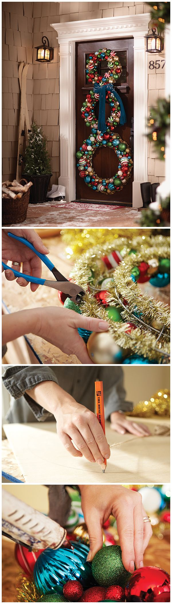 Welcome holiday guests with an inviting and festive entryway that's guaranteed to make a big impression! Learn how to make this DIY snowman wreath for your home with step-by-step instructions found here.