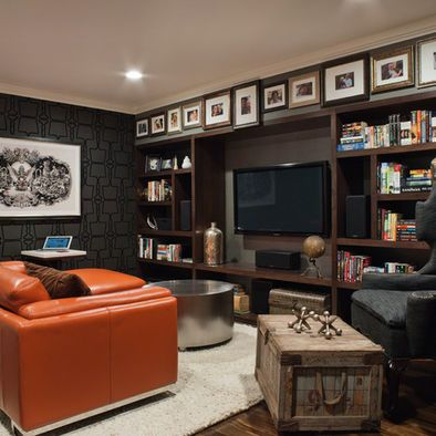 Sports Memorabilia Design-Shelves around TV to display memorabilia