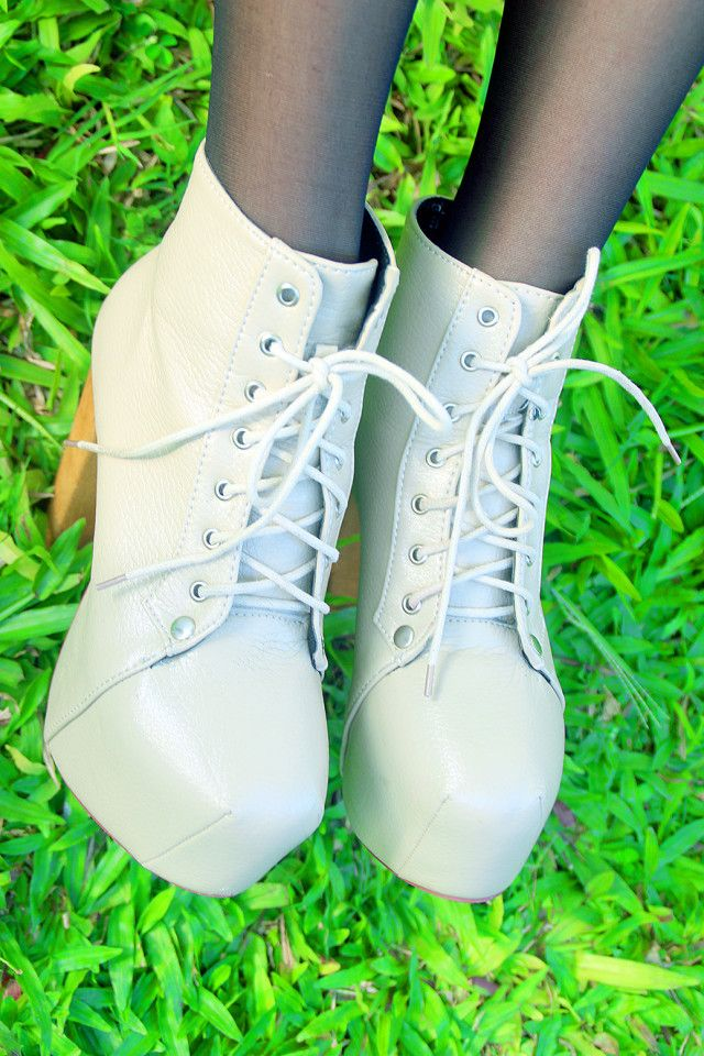 CREAM GREY colored Platform Boots for PHP250.00 ($5.61 USD). You can
