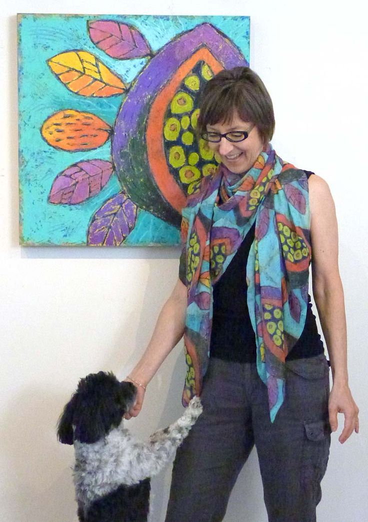 """RedBubble Scarf with art """"Ripe"""" by Dorothy Siemens (also Rascal)"""