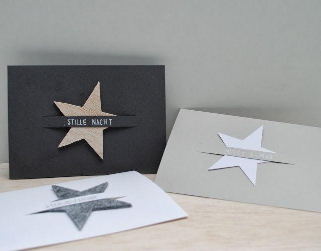 Schlichte Weihnachtskarten mit Sternen aus Filz, Balsaholz oder Pappe - schön schnell gefertigt von Birte / miniKUNST