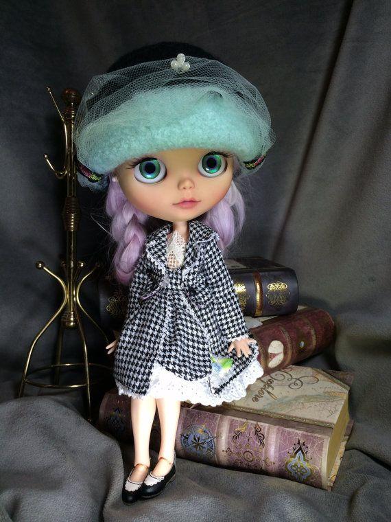 OOAK felted wool clouche hat/helmet for Blythe by TinyTwirlySkirts, $60.00