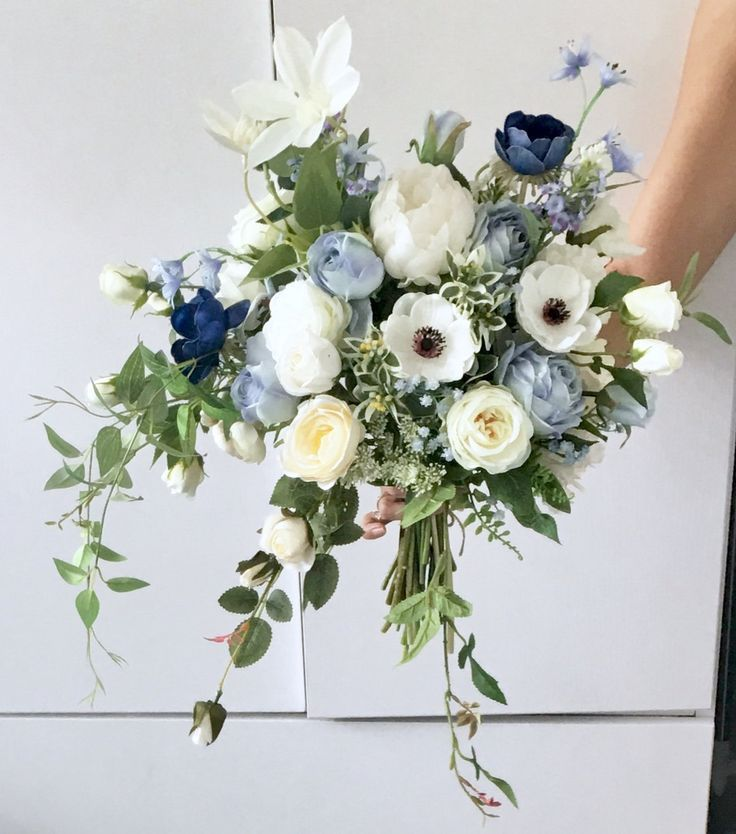 Artificial bouquet Wedding Bouquet blue roses High quality Etsy