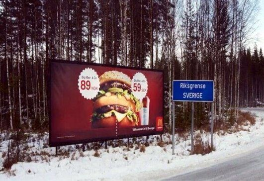 McDonald's Big Mac billboard at the border between Sweden and Norway
