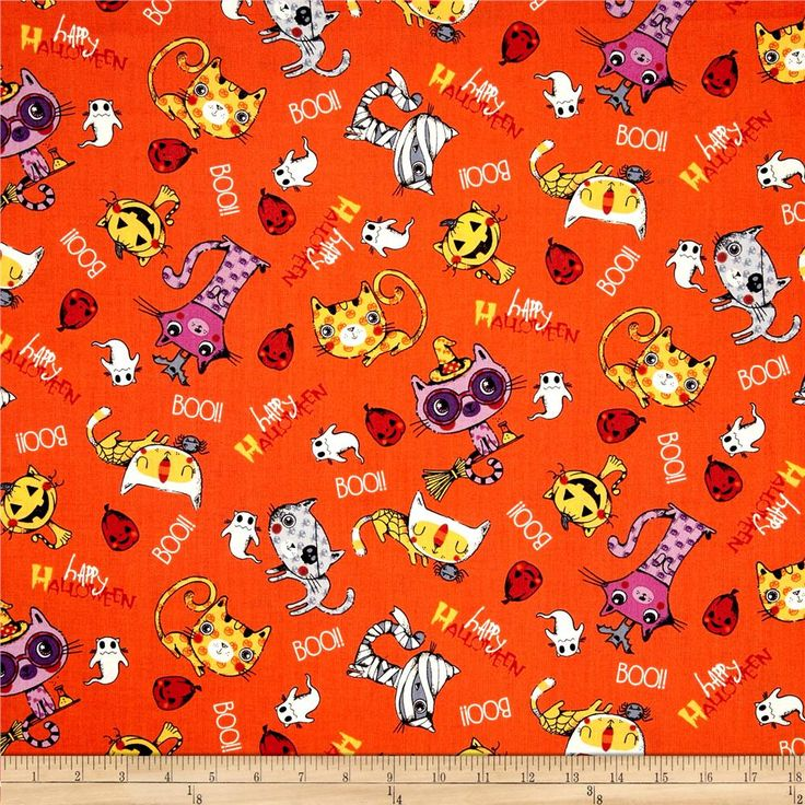 Trick or Treat Cats Boo Orange from @fabricdotcom  From Fabri-Quilt, this cotton print is perfect for quilting, apparel and home decor accents.  Colors include orange, white, black, red, yellow, grey and purple.