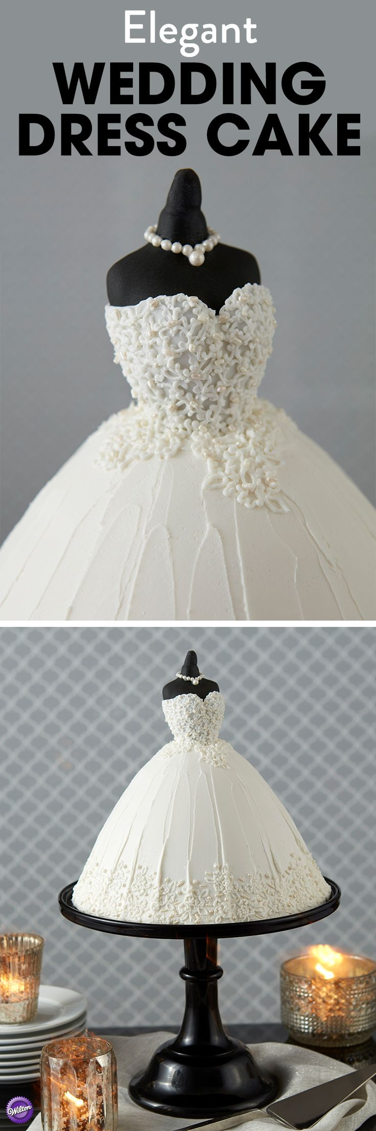 Elegant Wedding Dress Cake - Make a cake the bride is sure to love with this Elegant Wedding Dress Cake. Made using the Wilton Wonder Mold Cake Pan and embellished with pearlized jimmies and Sugar Pearls, this stunning wedding cake looks like it's straight off the runway. A wonderful treat for a bridal shower or a fun dessert the bridal party can share, this wedding dress cake is one that's sure to be cherished and remembered for years to come.