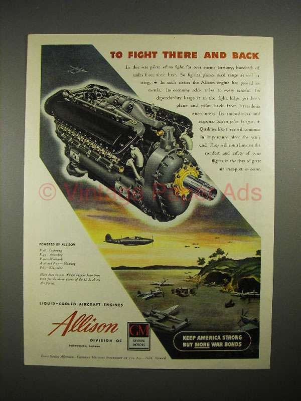 1944 WWII GM Allison Aircraft Engine Ad - Fight There