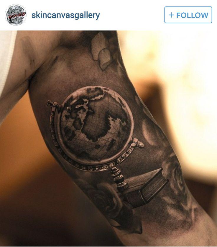 World Globe Arm Tattoo with Shading