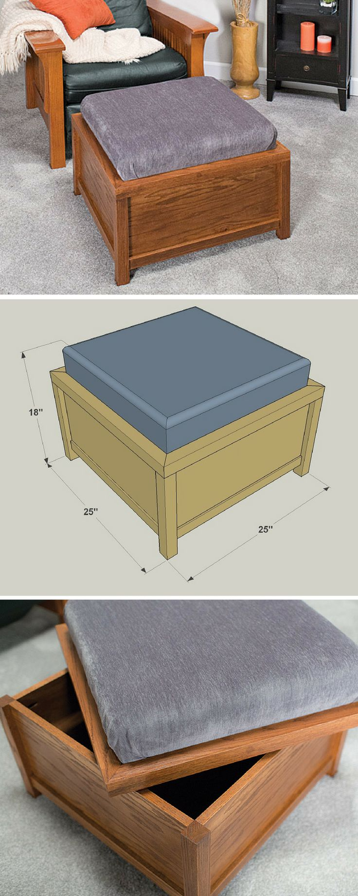 How to build a DIY Storage Ottoman   Free printable project plans include  how-to - 25+ Best Ideas About Storage Ottoman Coffee Table On Pinterest