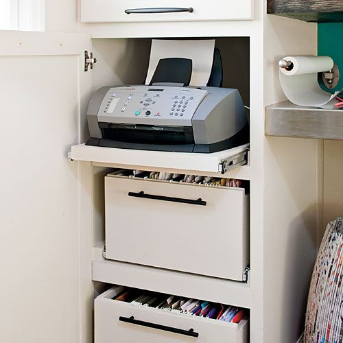 Office Space Hidden Storage In An Existing Cabinet By Modifying The Shelves  With Sliders For Easy Access To Files And Printer.